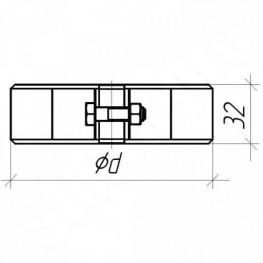 Хомут для труб узкий (Тип 1), нержавейка 0,5мм, d115