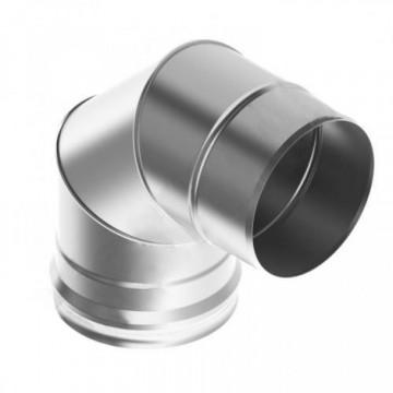 Колено (отвод)для дымохода 90° 3 сегмента, нержавейка, 0,5мм d115
