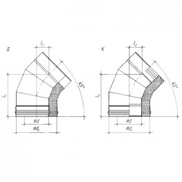 Колено сэндвич 45° для дымохода К, ЖС 0,5мм/ ЖС 0,5мм D150/230