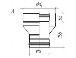 Старт для дымохода (сэндвич) А, ЖС 0,8мм / ЖС 0,5мм d115/200